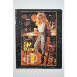 Vintage Coors Extra Gold Draft Cowgirl Promo Poster 1988
