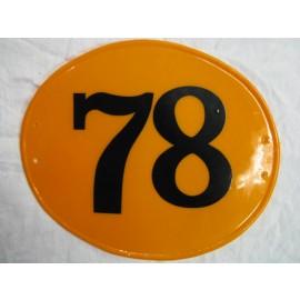 Number Plate Oval Orange #78