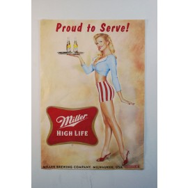 "Retro Miller High Life ""Proud to Serve"" Waitress Poster 2005"