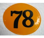 Number Plate Oval Orange #78