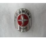 Schwinn Bicycle Head Badge round aluminum